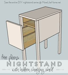 Build your own nightstand with 18 free plans! This one is narrow and great for small spaces, plus it features a hidden charging shelf inside the drawer! {MoreLikeHome.net}