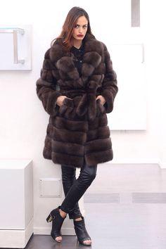 Russian Barguzin Sable Fur Horizontal Coat