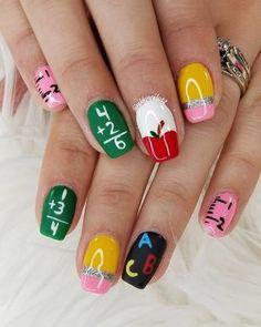 Cute back to school Manicure Ideas -Creative And New Designs for School – Nails art School Nail Art, Back To School Nails, Cute Acrylic Nails, Cute Nails, Pretty Nails, Nail Art Pour La Rentrée, Kids Manicure, Manicure Ideas, Teacher Nails