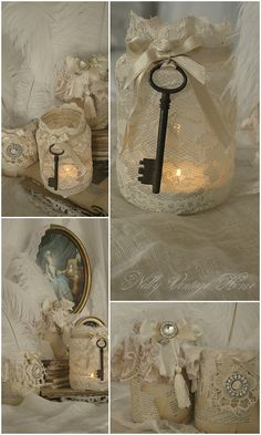 I love mixing rustic with dainty things like lace.  These candle jars are so pretty!