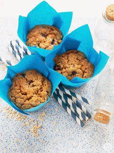 Muffins de avena y arándanos, ¡están deliciosos!