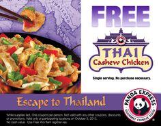 PANDA EXPRESS $$ Coupon for FREE Thai Cashew Chicken (10/3)!