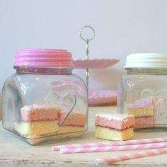 pink and cream love heart jars by little ella james | notonthehighstreet.com