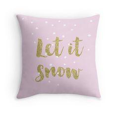 Déjelo nieve Navidad pillow almohada decoración oro por RubyandB