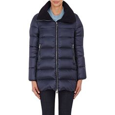 Moncler Women's Torcyn Puffer Jacket Size 1 (S) ($1,115) ❤ liked on Polyvore featuring outerwear, jackets, colorless, navy quilted jacket, feather jackets, zipper jacket, moncler jacket and puffer jacket