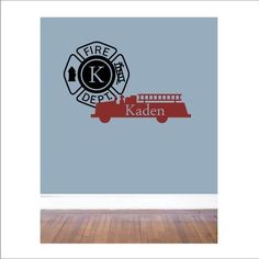 FIRETRUCK VINYL DECAL  with custom name and sign  by loladecor, $32.00