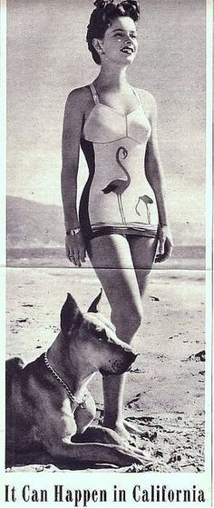 1940s Vintage Swimsuit with flamingos
