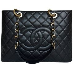 Pre-owned Grand Shopping Tote ($2,845) ❤ liked on Polyvore featuring bags, handbags, tote bags, black, initial tote bags, zip tote, evening purses, chanel handbags and special occasion handbags