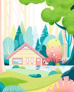 Ideas Art Drawings Design Inspiration For 2019 Landscape Illustration, Children's Book Illustration, Graphic Design Illustration, Digital Illustration, Illustration Children, Drawn Art, Affinity Designer, Illustrators On Instagram, Art Graphique