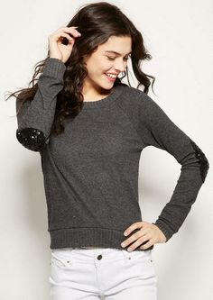 Brushed Sequin Elbow Patch Long-Sleeve - Tops - New Arrivals - dELiA*s