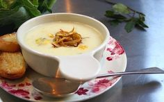 Cauliflower Soup with Melted Stilton and Caramelised Onions Recipe by Lotte Duncan