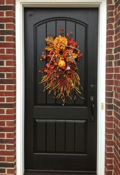 Fall Wreath Autumn Wreath Teardrop Vertical by AnExtraordinaryGift