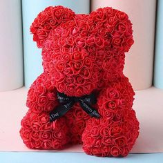 Party Decoracion Red Valentines Day Ideas For 2019 Roses Valentines Day, Bear Valentines, Valentines Day Gifts For Her, Clear Gift Boxes, Bear Wedding, Teddy Bear Toys, Party Decoration, Decoration Piece, Foam Roses