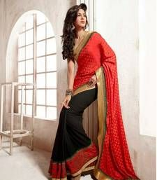 Bemebr With Chiffon Jacquard Pallu Saree With Blouse shop online