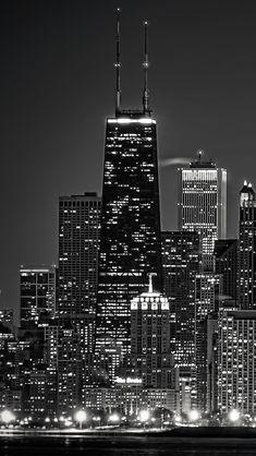 Dark Chicago Cityscape #iPhone #5s #Wallpaper