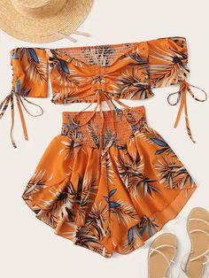 Shop Tropical Print Drawstring Shirred Off Shoulder Top With Shorts at ROMWE, discover more fashion styles online. Teen Fashion Outfits, Look Fashion, Girl Fashion, Girl Outfits, Fashion Dresses, Emo Outfits, Lolita Fashion, Fashion Styles, Cute Summer Outfits