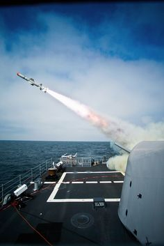 USS Princeton launches a Block II Harpoon missile. by Official U.S. Navy Imagery, via Flickr