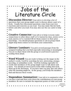 Literature circles, need to lower the grade level of the directions