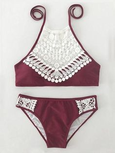Boho Ladies Lace Halter Bikini Set
