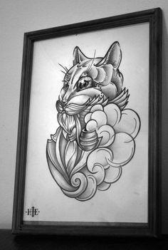 Кот с трубкой. | Татуировки, эскизы и тату-мастера России, Украины, Беларуси и из всего бывшего СССР