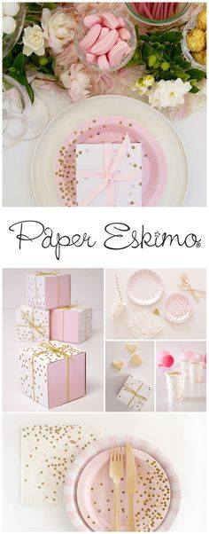 PaperEskimo.com | Birthday Party | Bridal Shower | Baby Shower | Light Pink and Gold Confetti | Light Pink Party | Wedding Reception | Pastel Color Party | Unicorn Party |  Confetti Party |  Confetti Grad Party