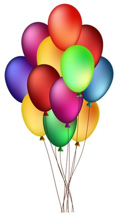 Bunch of Colorful Balloons PNG Clip Art Image