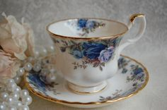 ROYAL ALBERT Moonlight Rose Blue Bone China Tea Cup and Saucer, tea party, shabby chic on Etsy, $27.04 CAD