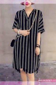 Stripe Buttons Shirt V-Neckline Shift Dress African Wear Dresses, Latest African Fashion Dresses, Women's Fashion Dresses, Shirtdress Outfit, Simple Dresses, Casual Dresses, Summer Dresses, Chic Outfits, Dress Outfits