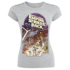 The empire strikes back! A grey shirt from Star Wars with on the front a big print in used-look, which shows the figures from the movie.