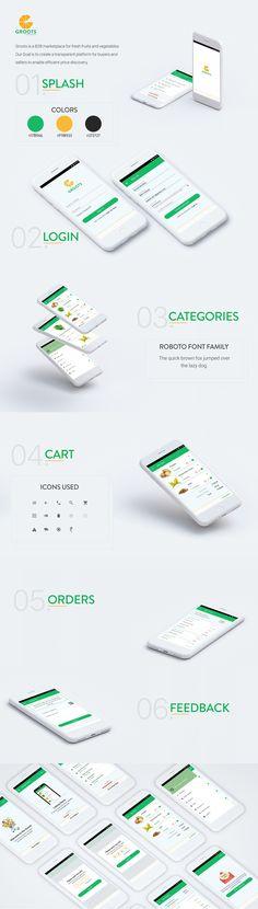 Groots - Andriod App on Behance Supermarket App, Ui Inspiration, Agriculture, Revolution, Behance, Website