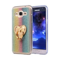 "Luxury Glitter Cases For Samsung Galaxy J1 2016 Express 3 J120A J120F 4.5"" Silicon Diamond Ring Covers Holder Stand Phone Bags"