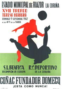 XVII TROFEO Teresa Herrera : Estadio Municipal de Riazor, La Coruña : domingo, 9 septiembre 1962. [A Coruña : s. n., 1962] (Coruña : Lit. e Imp. Roel). -- 1 lám. (cartel) : il. cor ; 100 x 71 cm. Memes, September, Domingo, Poster, Sports, Live, Meme
