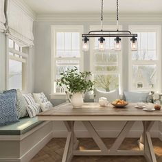 LNC Island Lights Farmhouse Mason Jar Linear Pendant Lighting in 2019 Sunroom Dining, Banquette Seating In Kitchen, Dining Room Bench, Dining Nook, Dining Room Lighting, Kitchen Booth Seating, Built In Dining Room Seating, Kitchen Nook Table, Kitchen Dining