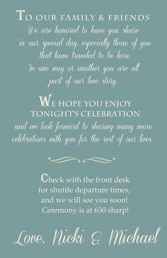 Wedding Itinerary custom designed for you by 4WeddingWelcomeBags, $1.00