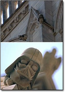 DARTH VADER GARGOYLE in the architecture of The Cathedral Church of Saint Peter and Saint Paul, better known as the Washington National Cathedral. Cool, huh?