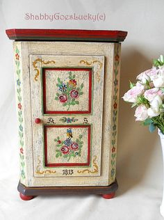 German vintage small wooden cabinet, shabby folk art hand painted dolls wardrobe, farmhouse style country chic kitchen or key cabinet Hand Painted Furniture, Paint Furniture, Furniture Makeover, Wood Painting Art, Doll Painting, Country Chic Kitchen, Farmhouse Style, Mackenzie Childs Furniture, Distressing Chalk Paint