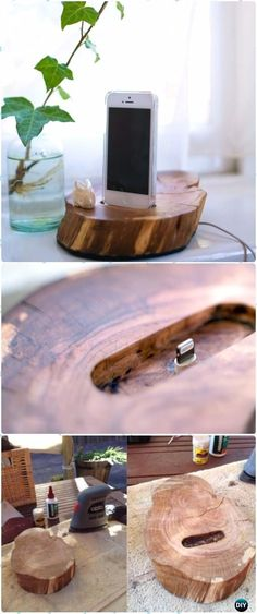 DIY Wood Log Iphone Docker Instructions - Raw Wood Logs and Stumps DIY Ideas Projects