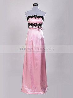 Strapless Appliqued Elastic Satin Sheath Evening Dress