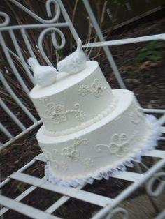 Classic beauty - white on white wedding cake by Sweetreats http://eatsweetreats.com