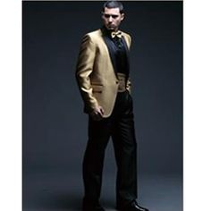 black and gold tux for wedding | After Six Troy Black Prom Tuxedo ...