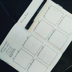 Bullet journal weekly layout, cursive headers, weekly tasks. | @swaymeaway