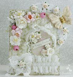 Live & Love Crafts' Inspiration and Challenge Blog The gorgeous Lace Heart Appliqué provides Easter love, which is adorned with another shabby bow and a sweet two-tone rose.
