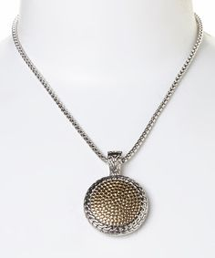 Another great find on #zulily! Sterling Silver & Gold Pebbled Pendant Necklace #zulilyfinds