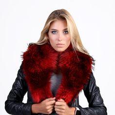 Fur Detach Collar for Coat - Real Fur Scarf - Wedding shawl - Bridal Wrap - anniversary gift Red Fur, Fur Clothing, Fur Bag, Detachable Collar, Fur Stole, Fur Collars, Fur Jacket, Looks Great, Fur Scarves