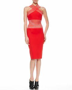 Elastic Peekaboo Halter Dress, Red by Christopher Kane at Bergdorf Goodman.