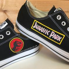 8768f469e82c28 wenartworkOriginal Design Custom hand painted shoes · Black low top Converse  hand painted with the Jurassic Park logos  converse  customconverse