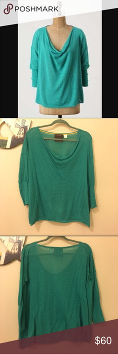 Green/turquoise lightweight sweater by Anthro Anthro green/turquoise sweater, with dot pattern. Requires a cami. Beautiful layered scoop neck detail, and 3/4 sleeve. Very comfortable and great from spring! Anthropologie Sweaters Crew & Scoop Necks