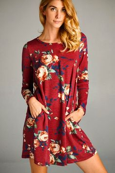 This stunning fall floral shift dress is the perfect comfy, cute piece to add to your wardrobe. With soft light weight fabric and long sleeves its a great dress to wear on its own or layer with your f