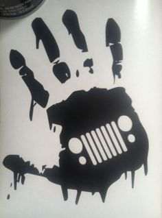 """Zombie JK Hand Wave Jeep """"GRILL"""" Wrangler Decal for Danny in SILVER"""