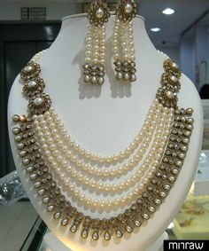 Awesome multi string pearl necklace set